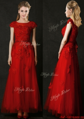 Elegant Empire Applique Red Bridesmaid Dress with Cap Sleeves