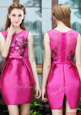 Luxurious Column Scoop Applique Hot Pink Bridesmaid Dress in Satin