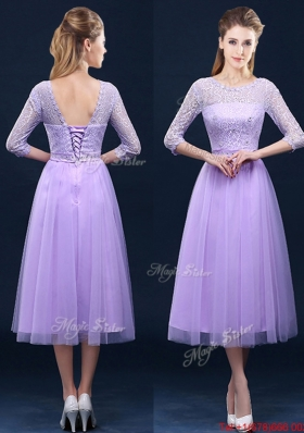 Popular Half Sleeves Tea Length Laced Bridesmaid Dress in Lavender