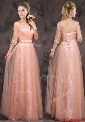 Popular See Through Applique and Laced Long Bridesmaid Dress in Peach