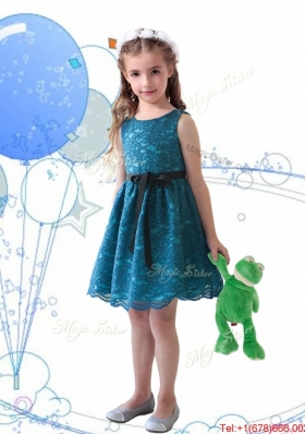 Wonderful Laced and Sashed Scoop Girls Party Dress in Teal