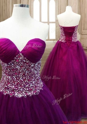 Hot Sale A Line Beaded Quinceanera Dress in Burgundy for Winter