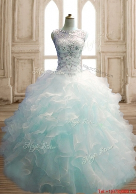 Unique See Through Beaded Decorated Scoop Quinceanera Dress in Light Blue