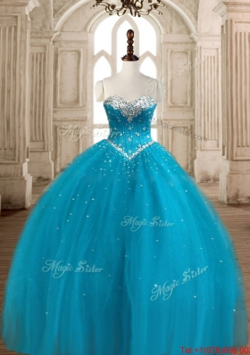 Unique Visible Boning Beaded Quinceanera Dress in Teal