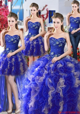Beautiful Royal Blue and Champagne Detachable Quinceanera Gowns in Organza