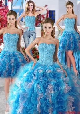 Best Selling Organza Ruffled and Beaded Detachable Quinceanera Dresses for Spring
