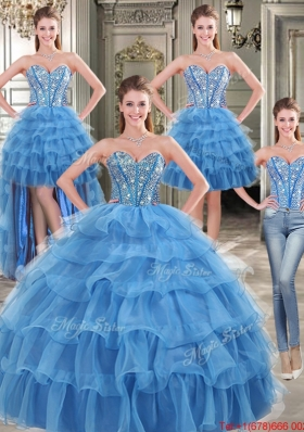Cheap Organza Blue Detachable Quinceanera Dresses with Beading and Ruffled Layers