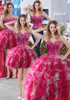 Cheap Puffy Skirt Organza Detachable Sweet 16 Gowns with Beading and Ruffles