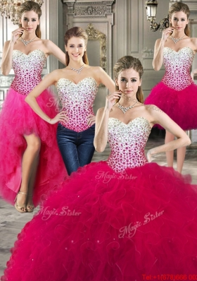 Exclusive Ball Gown Red Detachable Sweet 16 Dresses with Beading and Ruffles