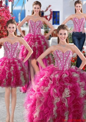 Hot Sale Puffy Skirt Organza Detachable Quinceanera Dresses with Beading and Ruffles