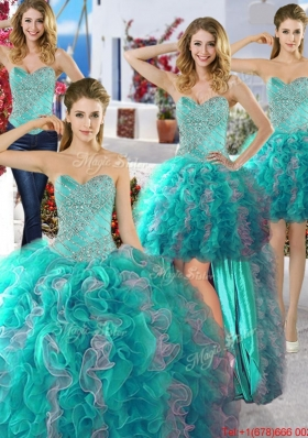 Low Price Organza Beaded Detachable Quinceanera Dresses in Two Tone
