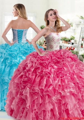 Luxurious Beaded and Ruffled Hot Pink Quinceanera Dress in Organza