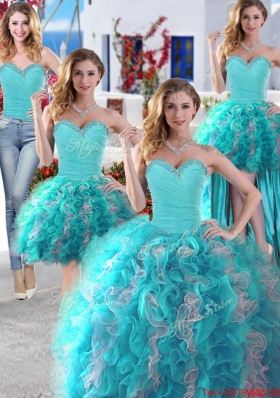Luxurious Organza Beaded and Ruffled Baby Blue and White Detachable Quinceanera Gowns