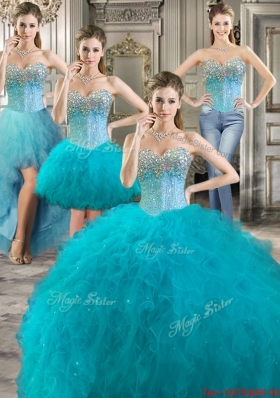 Luxurious Teal Detachable Quinceanera Gowns with Beaded Bodice and Ruffles