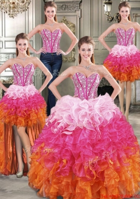 Modern Multi Color Detachable Quinceanera Dresses with Beaded Bodice and Ruffles
