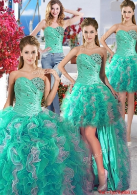 New Style Ruffled and Beaded Detachable Quinceanera Dresses in Turquoise and White