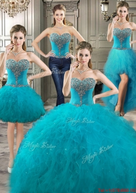 Popular Four for One Really Puffy Beaded and Ruffled Detachable Quinceanera Dresses