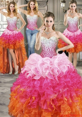 Romantic Beaded and Ruffled Detachable Quinceanera Dresses in Ombre Color