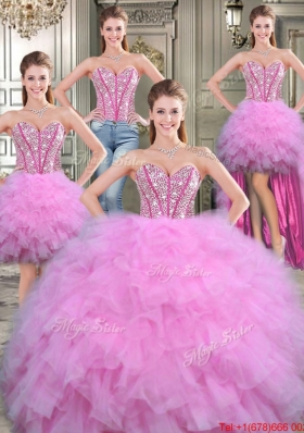 Sweet Four for One Ball Gown Detachable Quinceanera Dresses with Beading and Ruffles