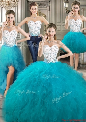 Four for One Ruffled and Beaded Bodice Teal and White Detachable Quinceanera Gowns