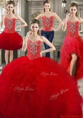 New Visible Boning Beaded and Ruffled Detachable Sweet 16 Dresses in Red
