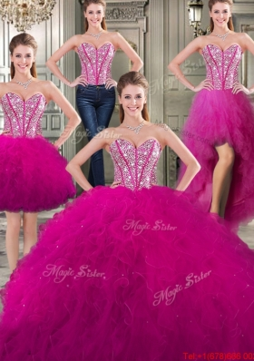 Fashionable Visible Boning Detachable Quinceanera Dresses in Fuchsia