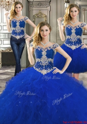 Pretty Cap Sleeves Royal Blue Detachable Quinceanera Dresses with Off the Shoulder