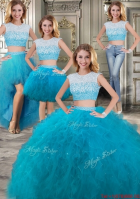 Two Piece Scoop Beaded and Ruffled Detachable Sweet 16 Dresses in Teal