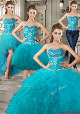 Wonderful Sweetheart Beaded and Ruffled Detachable Quinceanera Dresses in Teal
