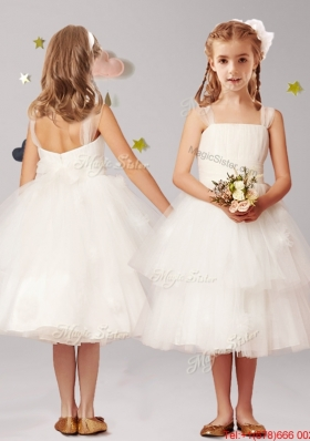Modest Straps White Flower Girl Dress with Appliques and Ruffled Layers