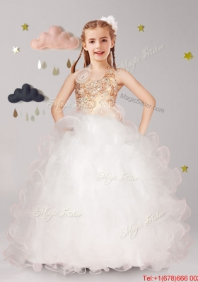 New Style Halter Top Flower Girl Dress with Hand Made Flowers and Ruffles