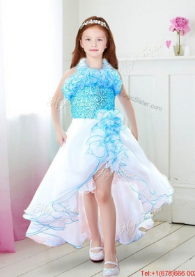 Infant Halter Top High Low Ruffled Flower Girl Dress in Organza