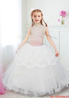 Lovely Halter Top Laced and Beaded Flower Girl Dress in White
