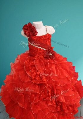 Cheap Asymmetrical Neckline Hand Made Flowers and Ruffled Girls Party Dress in Red