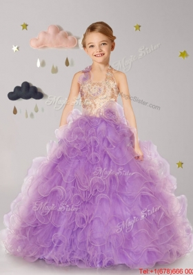 Discount Halter Top Hand Made Flowers and Ruffled Lilac Girls Party Dress in Lilac