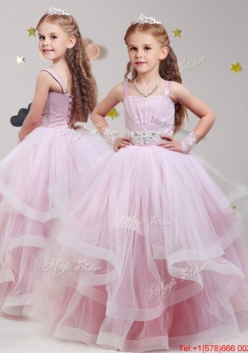 Fashionable Straps Baby Pink Girls Party Dress with Beading and Ruffles