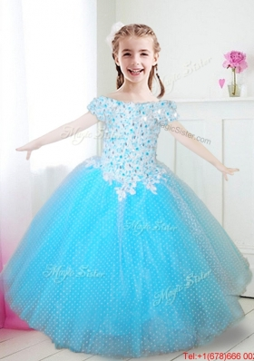 Hot Sale Off the Shoulder Aqua Blue Girls Party Dress with Appliques and Beading