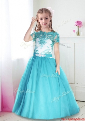 Latest Scoop Short Sleeves Laced and Belted Girls Party Dress in Turquoise