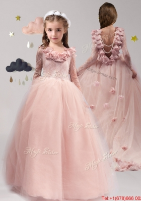 61f83cd7f09 Luxurious Scoop Long Sleeves Applique and Ruffled Mini Quinceanera Dress in  Tulle