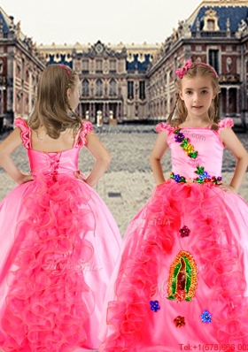Luxurious Spaghetti Straps Applique and Ruffled Girls Party Dress in Rose Pink