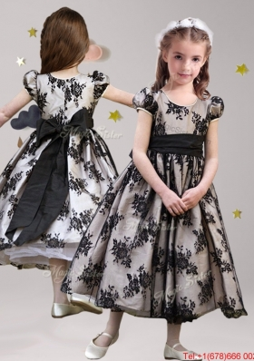 Popular Scoop Short Sleeves Sashed Mini Quinceanera Dress in Black