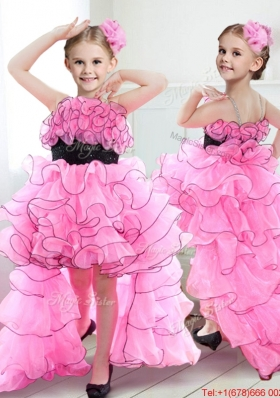 Pretty Spaghetti Straps Ruffled and Belted High Low Girls Party Dress in Rose Pink