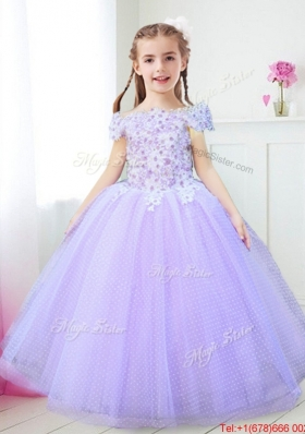 Wonderful Off the Shoulder Applique and Beaded Flower Girl Dress in Lavender