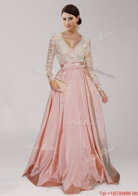 Affordable Deep V Neckline Long Sleeves Peach Prom Dress with Beading and  Belt