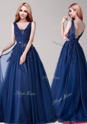 Best V Neck Navy Blue Tulle Prom Dress with Appliques and Belt