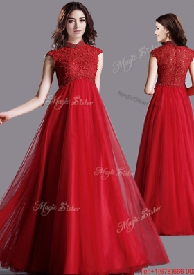 Cheap High Neck Cap Sleeves Red  Prom Dress with Lace