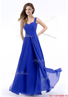 Cheap Straps Hand Made Flowers Royal Blue Prom Dress in Chiffon