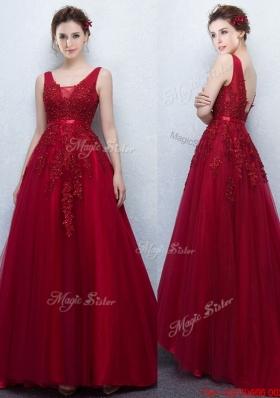 Elegant V Neck Wine Red Prom Dress with Appliques and Belt