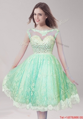 Inexpensive Scoop Apple Green Prom Dress with Beading for Spring