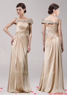 Modest Asymmetrical Neckline Beaded Empire Prom Dress with Beading